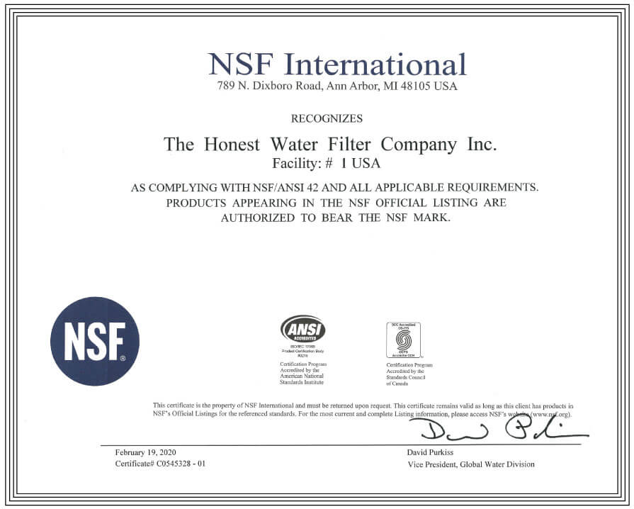 NSF certification for facility