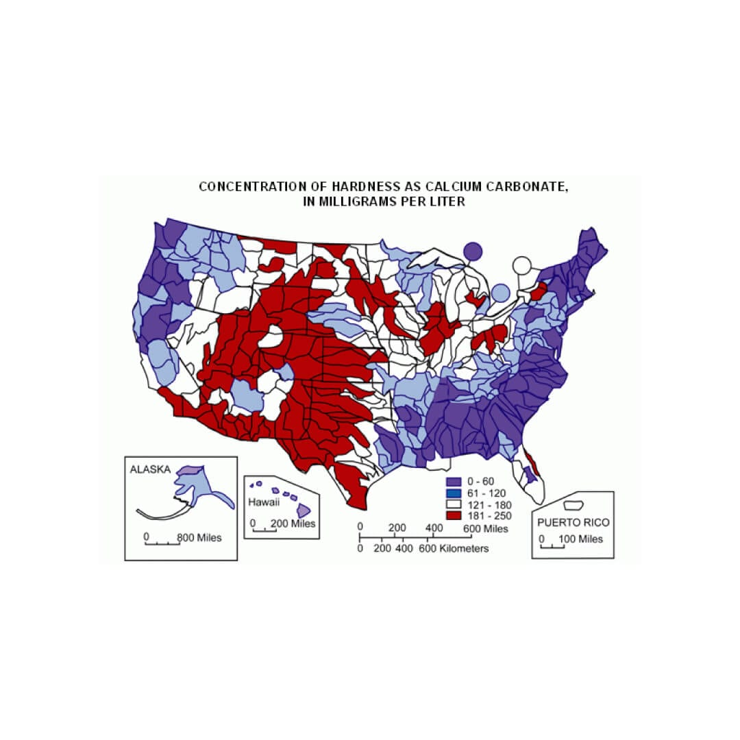 Map of hard water across the US