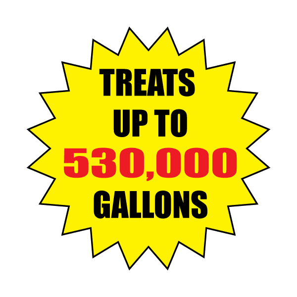 Treats up to 530,00 gallons graphic